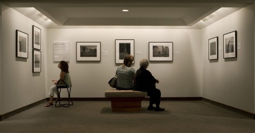 Visitors viewing photographs by Kenro Izu in the exhibition Sacred Places at the Detroit Institute of Arts, 2008, photograph by Eric Wheeler for the DIA
