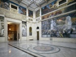 View of the DIA's Rivera court and Diego Rivera's Industry murals from 1932